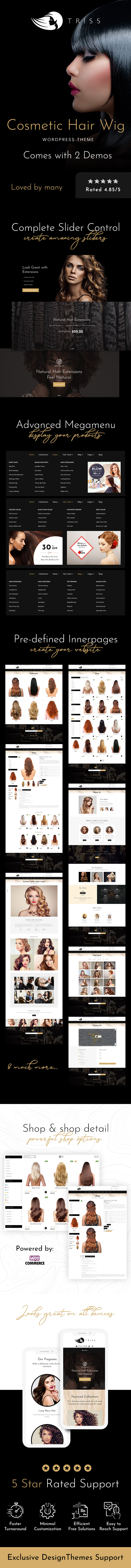 Triss - Salon, Hair Extension & Beauty Shop WooCommerce Theme - 1