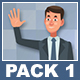 FlicFland - Businessman And Businesswoman Cartoon Characters Pack 1
