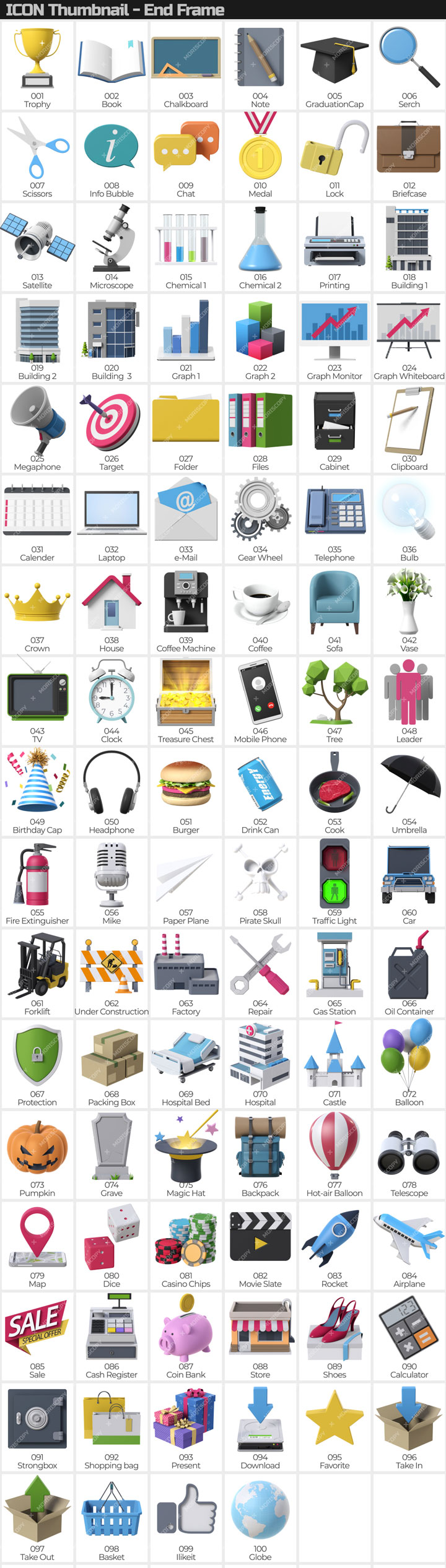 100 3D Icons Pack - 2