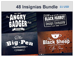 48 insignias or labels Bundle