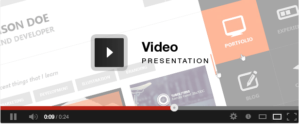 flat resume virtual business card html hd video presentation
