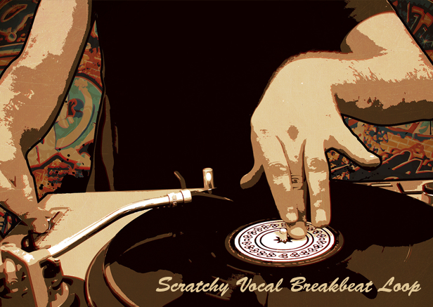 Vinyl scratch breakbeat with vocals (royalty free scratchy music.
