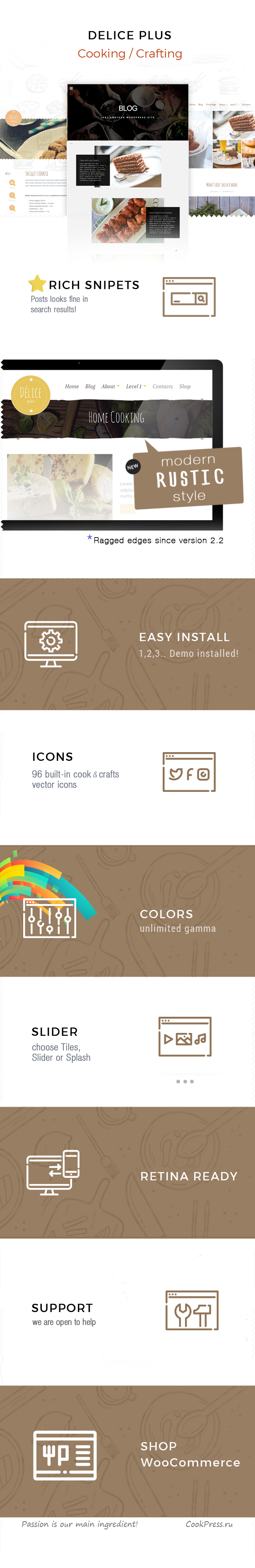 Delice Plus Cooking or Crafting WP Theme • by CookPress - 1