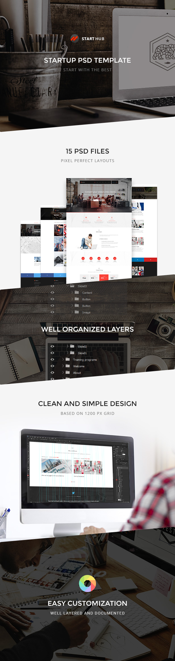 StartHub — Clean Multipurpose Business/Corporate/Blog PSD Template - 1