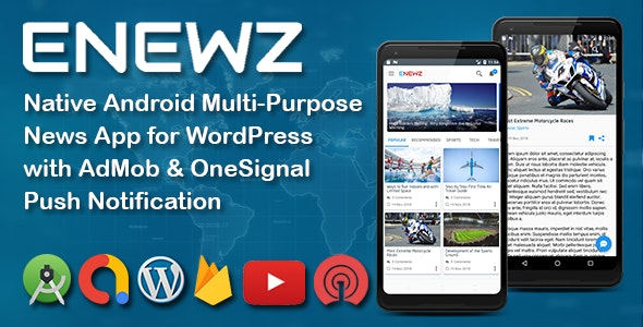 ENEWZ - Native Android News App for wordpress site with Admob and Firebase Push Notification
