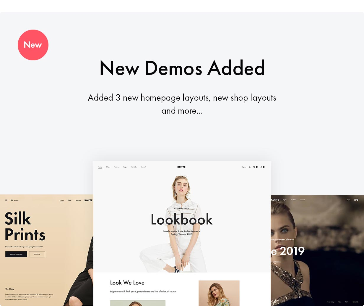 Konte WooCommerce theme - New demos added in verison 2.0