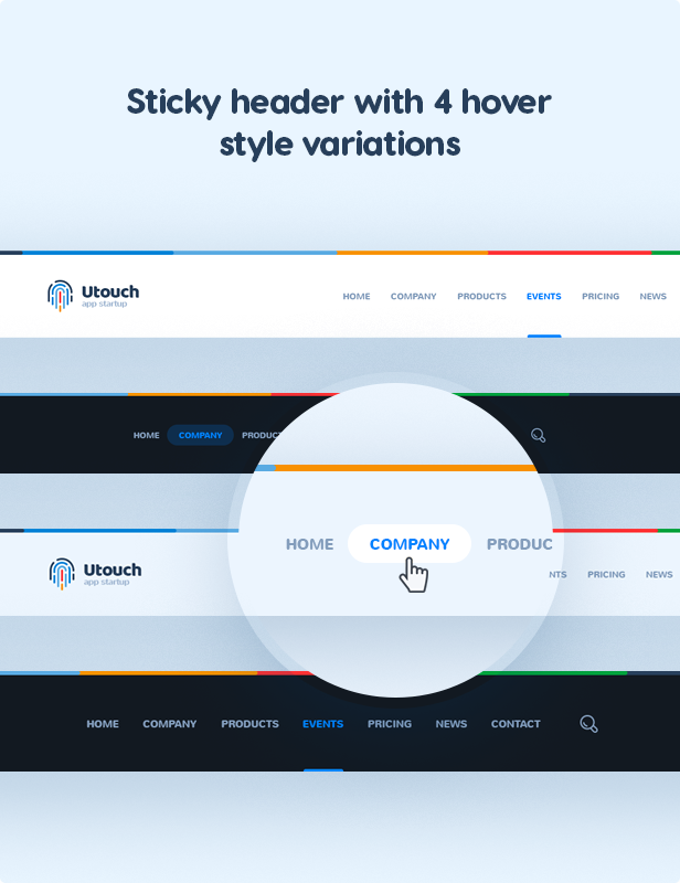 Sticky header with 4 hover style variations