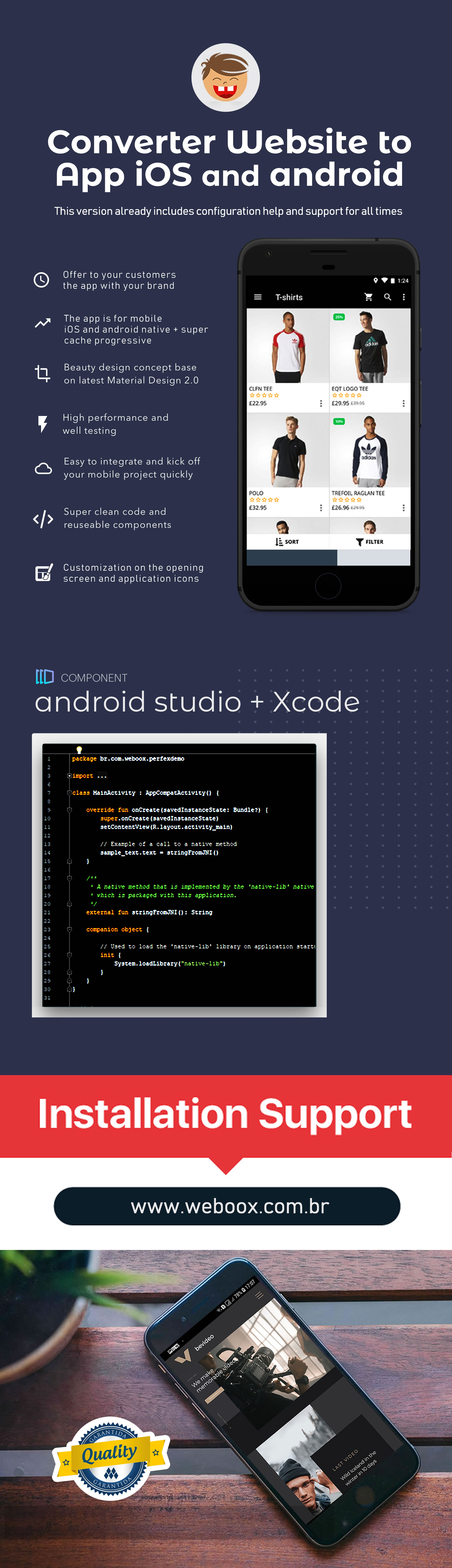 Weboox Convert - Website to app Android Native - 3