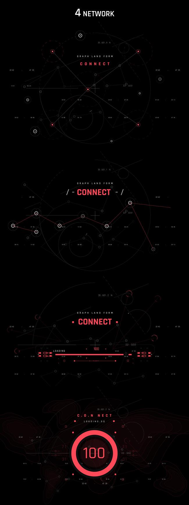 AE脚本-500个HUD高科技赛博朋克UI科幻界面元素动画预设包 Cyberpunk HUD UI 500+ 已修复中文版AE表达式报错插图40