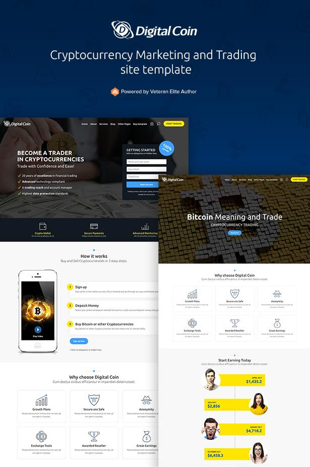 Cryptocurrency Marketing and Trading Site Template