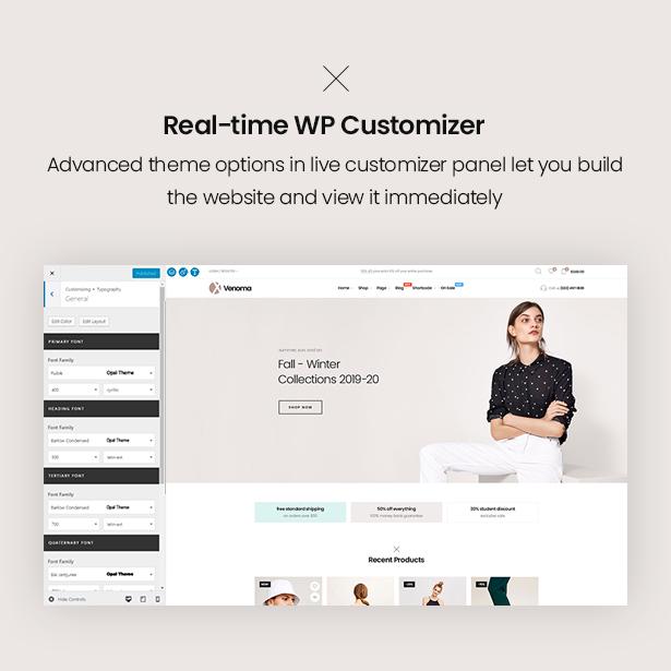 Real time customization Venoma Fashion WordPress WordPress Theme