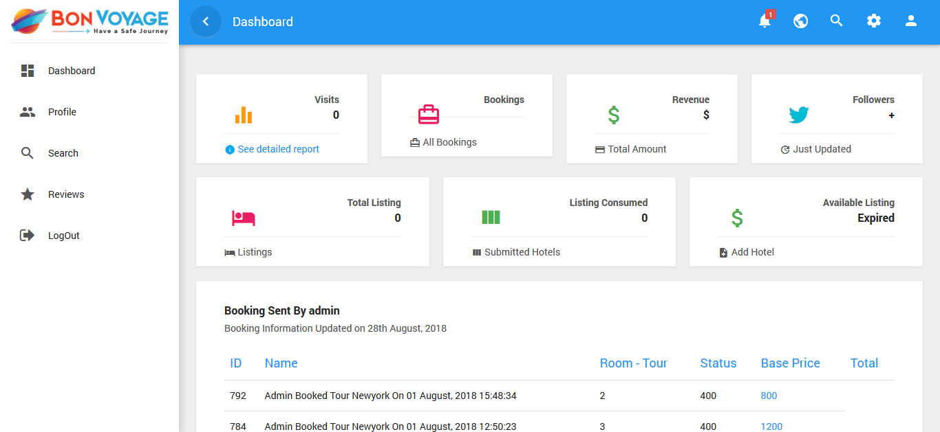 Booking Received by Customers Shown in User Panel