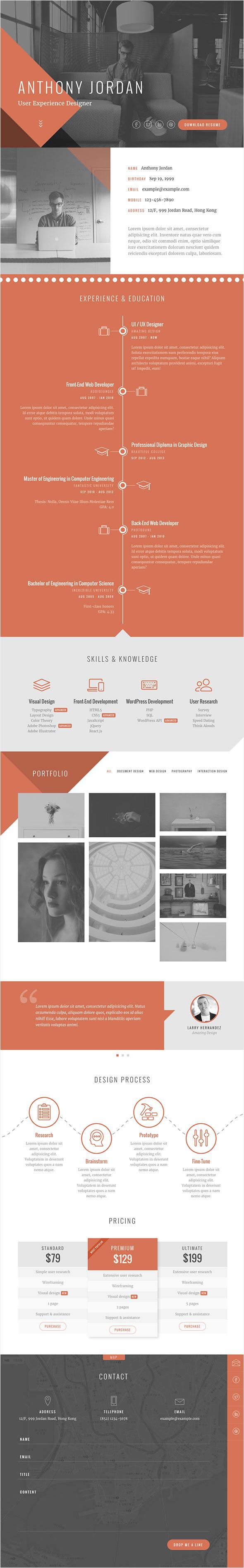 Jordan   Modern Onepage Resume / Portfolio Template