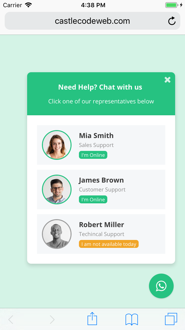 WhatsApp Chat Support - jQuery Plugin - 2
