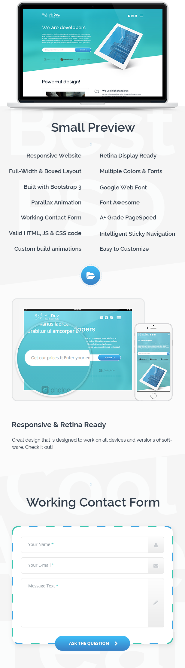 Air Dev Responsive Website Template By Theemon ThemeForest - Bootstrap newsletter template