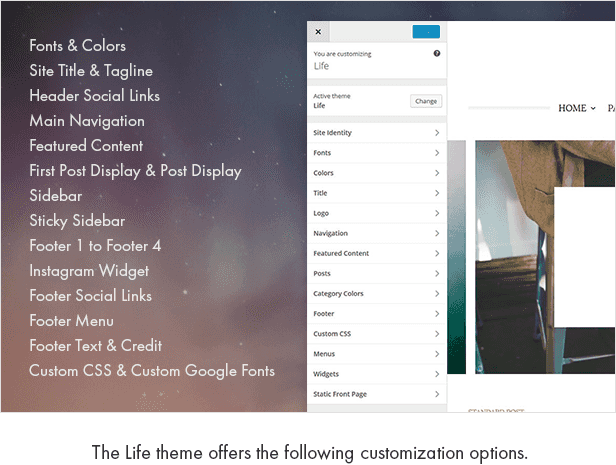 The Life theme offers the following customization options.