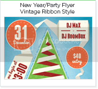 New Year Party poster ribbon style