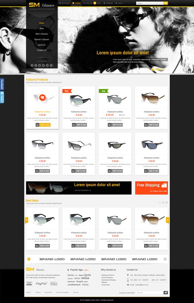 SM Glasses Responsive Magento Theme - 1