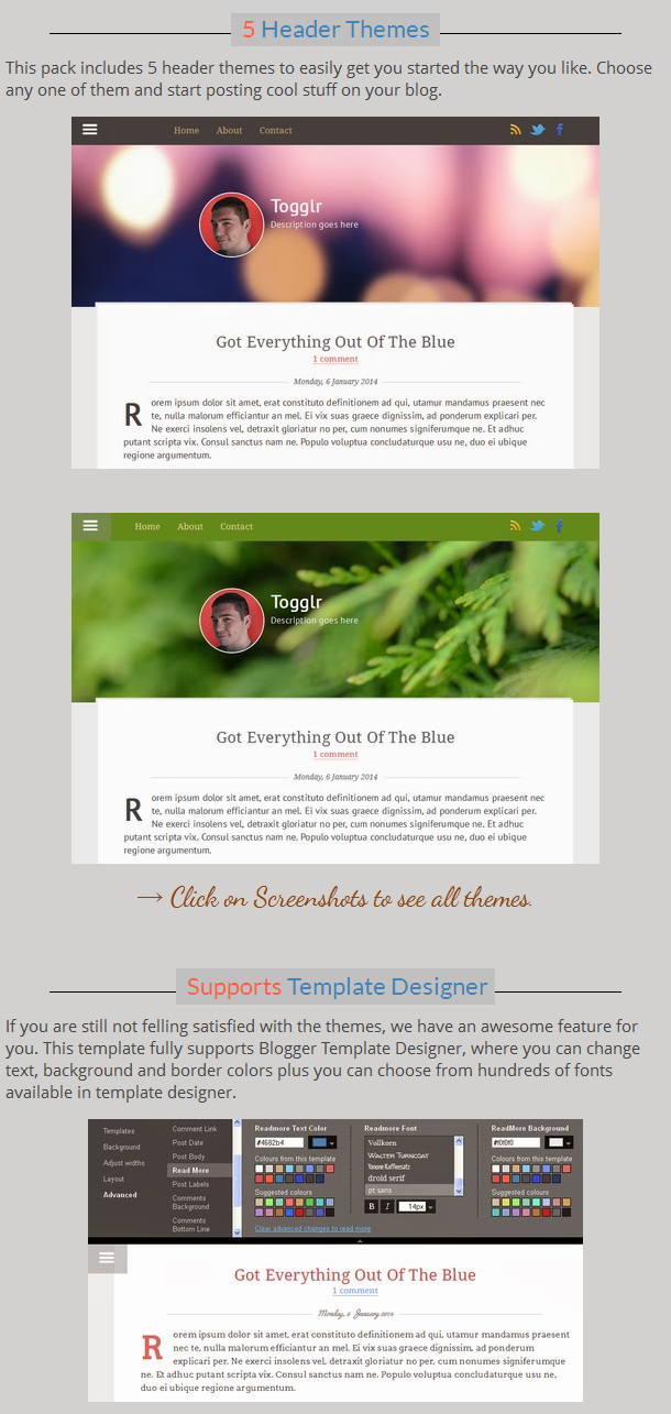 Togglr - Clean Responsive Blogger Template - 1