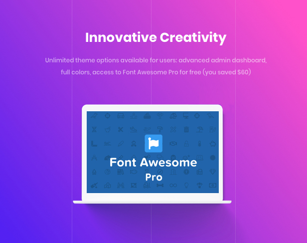 Business Agency WordPress Theme - Innovative Creativity with Font Awesome Pro $60