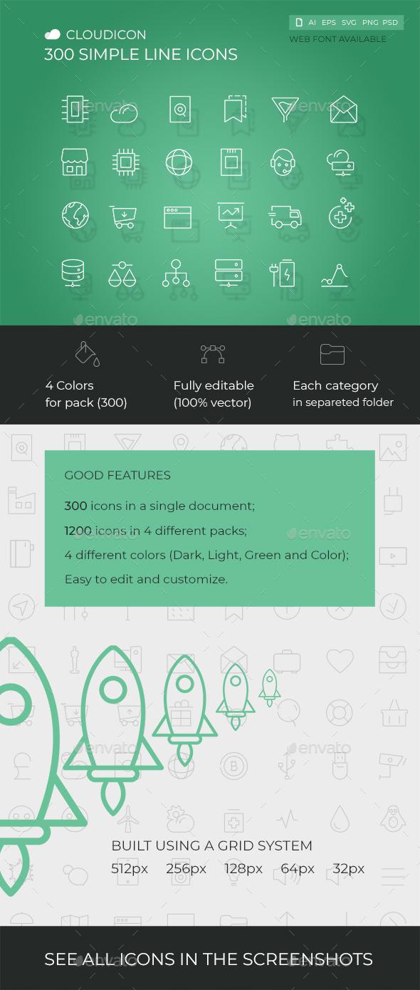 Cloudicon - 300 Simple Line icons Set
