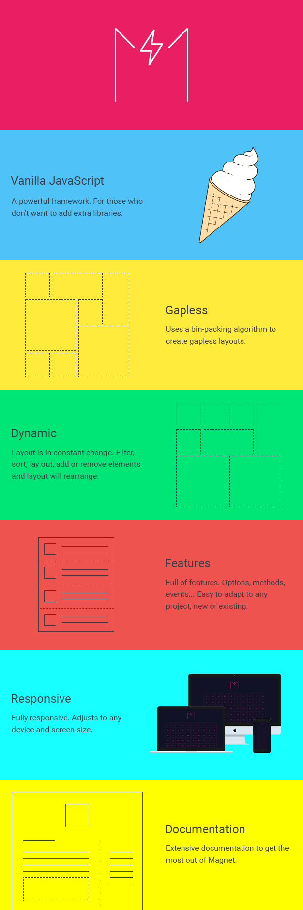 Magnet - JavaScript Library and jQuery Plugin to Create Filterable and Sortable Layouts - 1