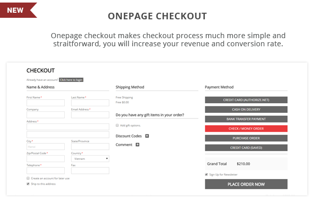 Atom - Onepage checkout