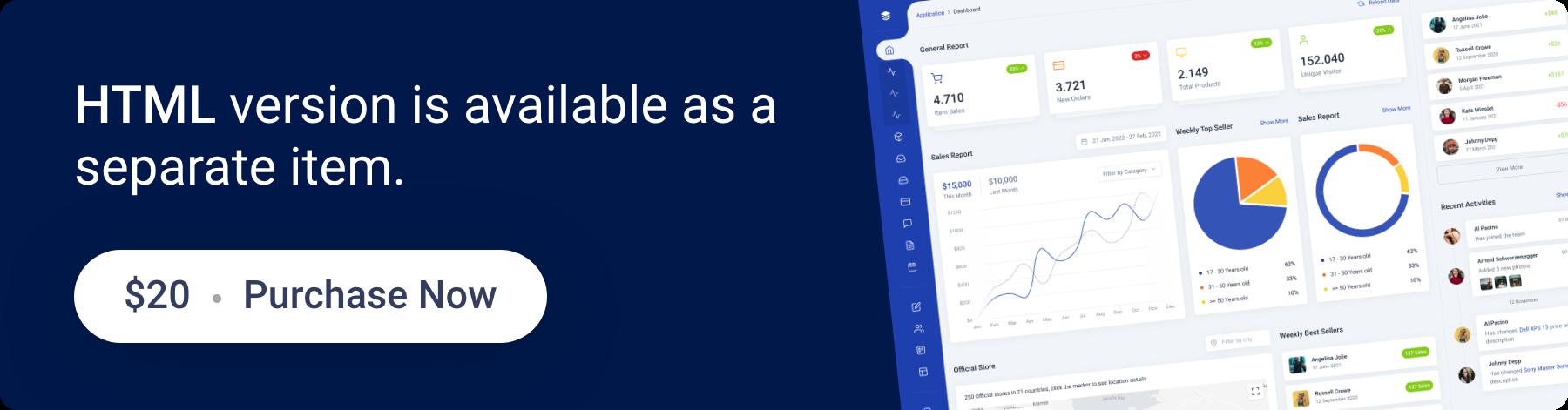 Midone - Laravel 8 Admin Dashboard Template + HTML Version - 2