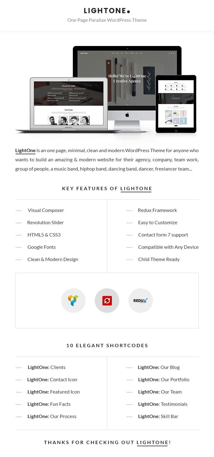 LightOne - Onepage Parallax WordPress Theme - 1