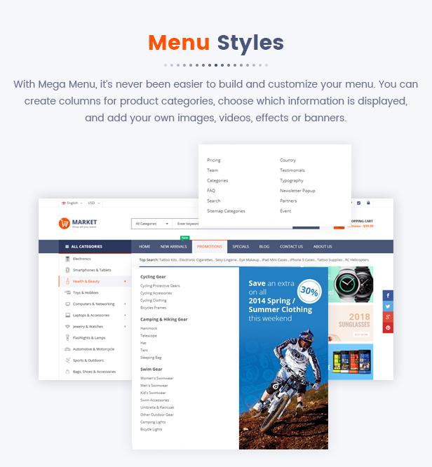 Best Magento 2 Themese - menu