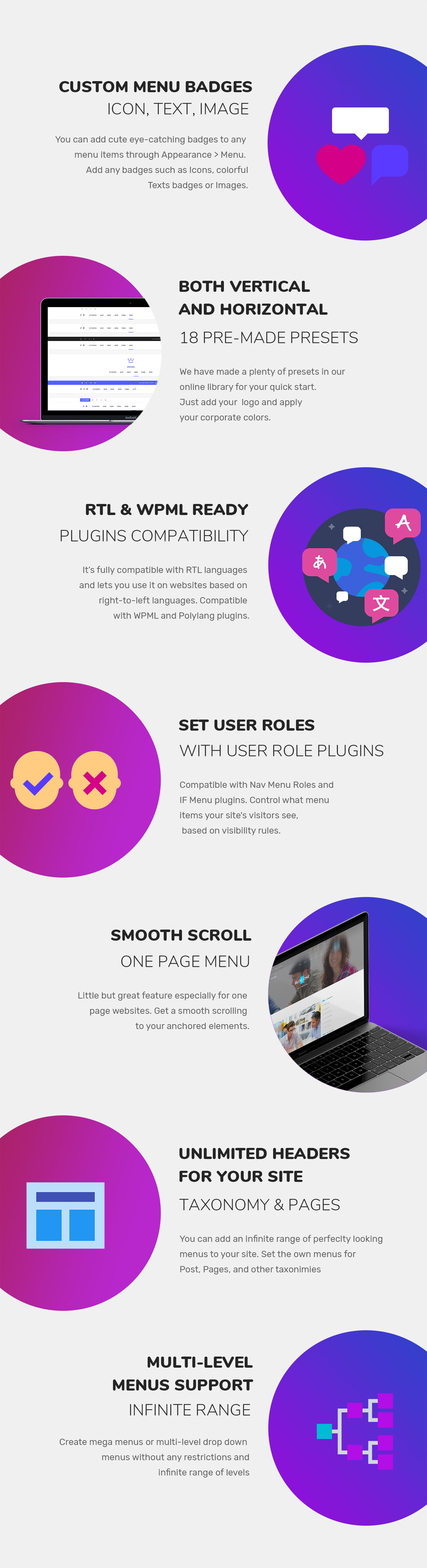 features wordpress mega menu
