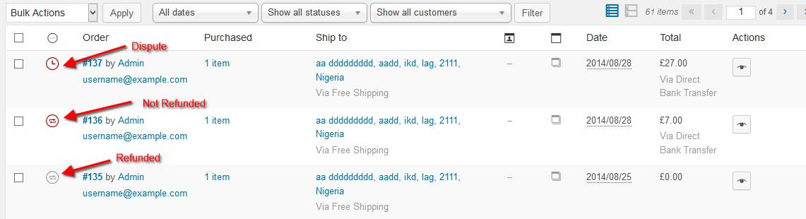 order statuses