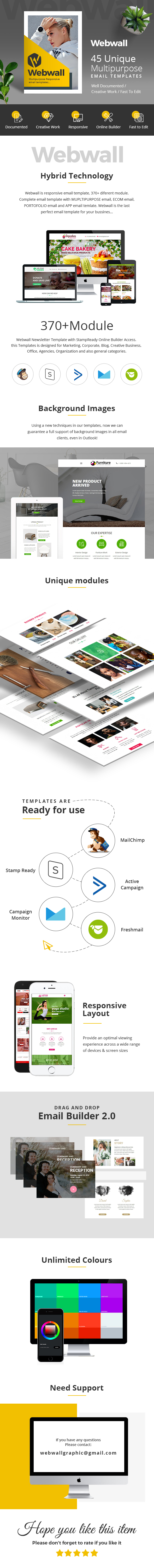Webwall- 370+ Modules - Responsive Email Template + Builder - 1