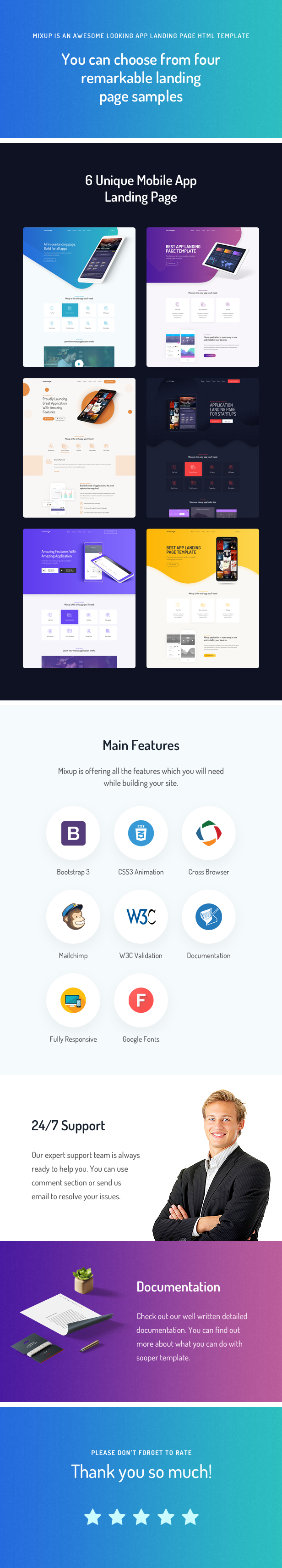 mixup app landing page html template by layerdrops themeforest