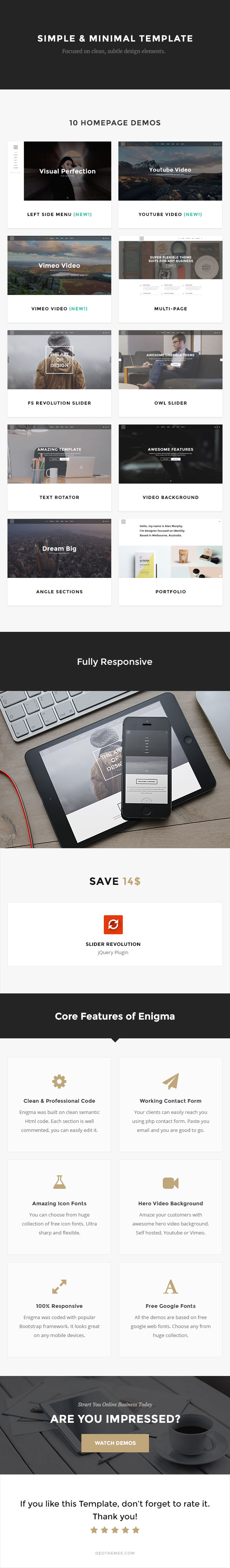 Enigma | Creative Responsive Minimal HTML Template by DeoThemes ...