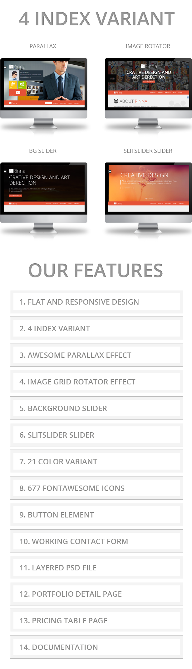 Rinna Flat and Responsive Onepage Template - 1