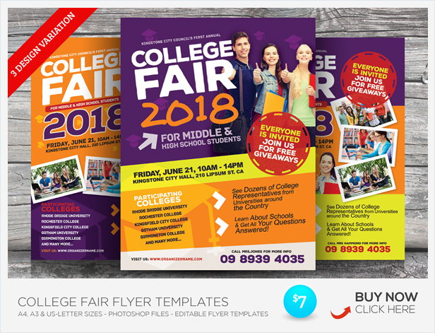 College Open Day Flyer Templates By Kinzi GraphicRiver - Buy flyer templates