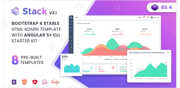 Stack - Clean Responsive Bootstrap 4 Admin Dashboard Template by