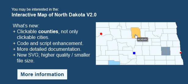 Interactive Map of North Dakota - Clickable Counties