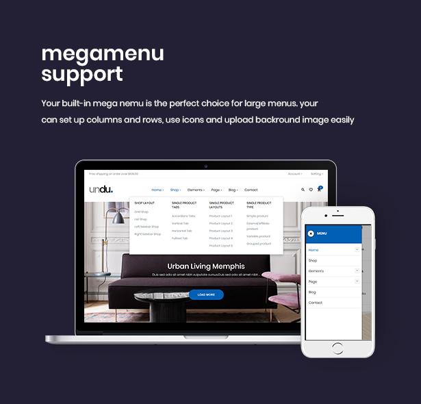 Flexible Megamenu For Shopping Undu - Furniture & Fashion WooCommerce WordPress Theme