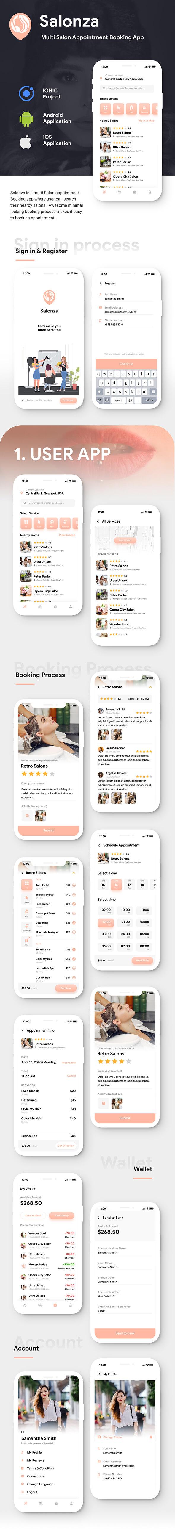 Multi Salon Android App Template+ Multi Salon iOS App Template|2 Apps User+Salon| IONIC 5| Salonza - 3