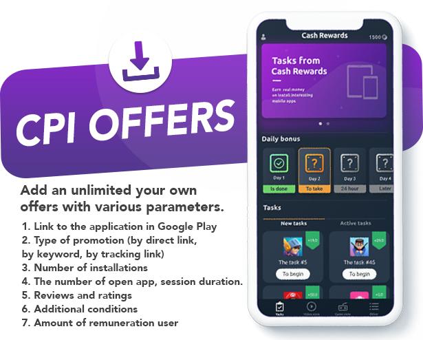 Cash Rewards - CPI Offers & Rewards App + PHP Laravel Admin Panel - 2
