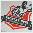 Muscle Gym Badge Logo Template