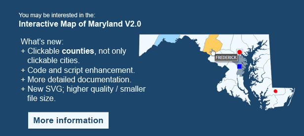 Interactive Map of Maryland - Clickable Counties