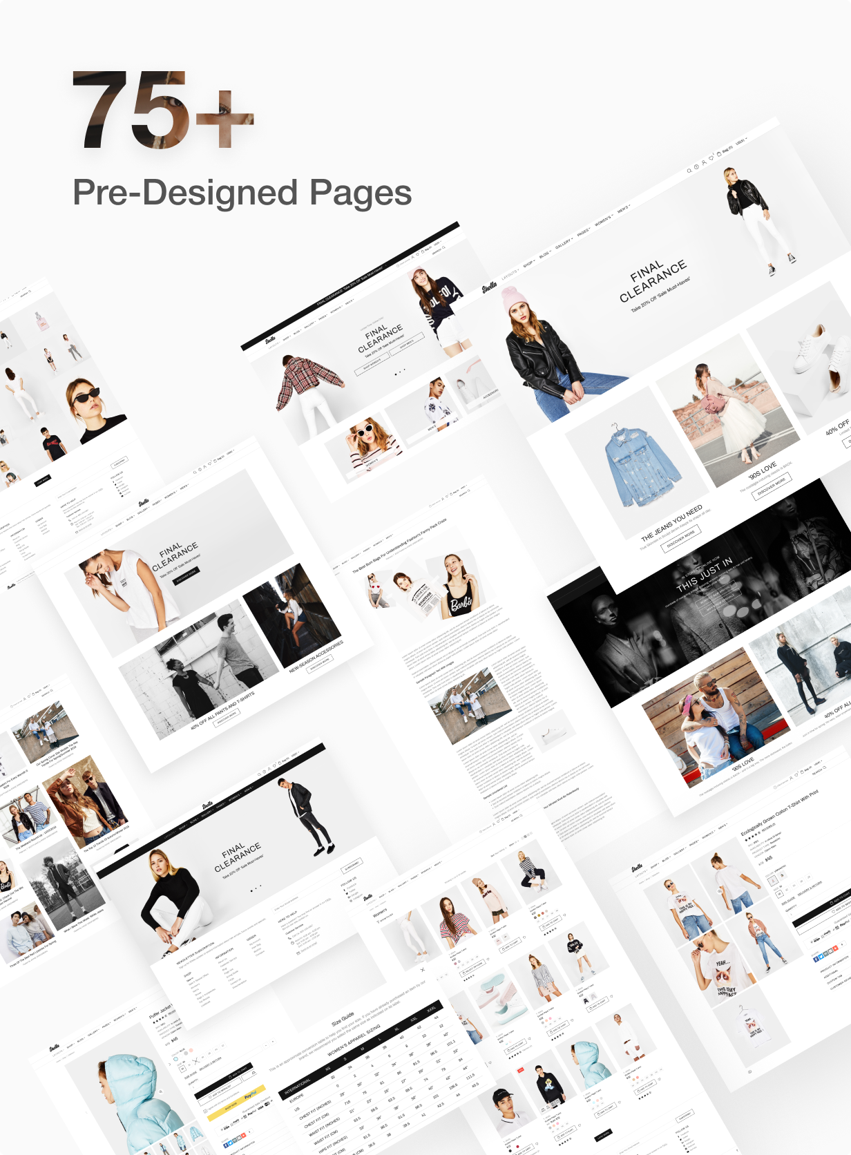 75+ pre designed pages for Shella Shopify theme