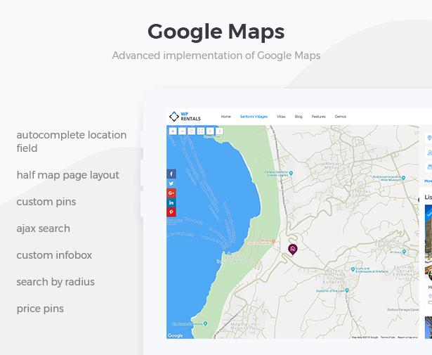 wprentals presentation google maps