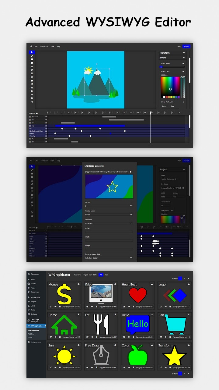 WPGraphicator - SVG Animation Maker for WordPress - 1