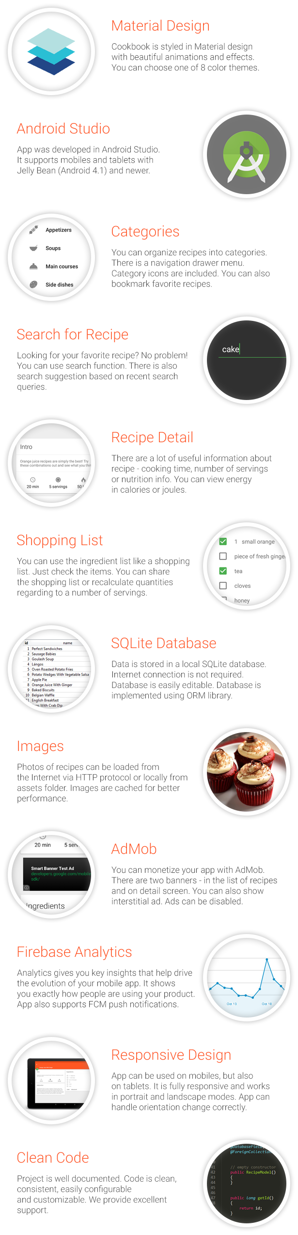 cookbook recipe app for android by robotemplates codecanyon