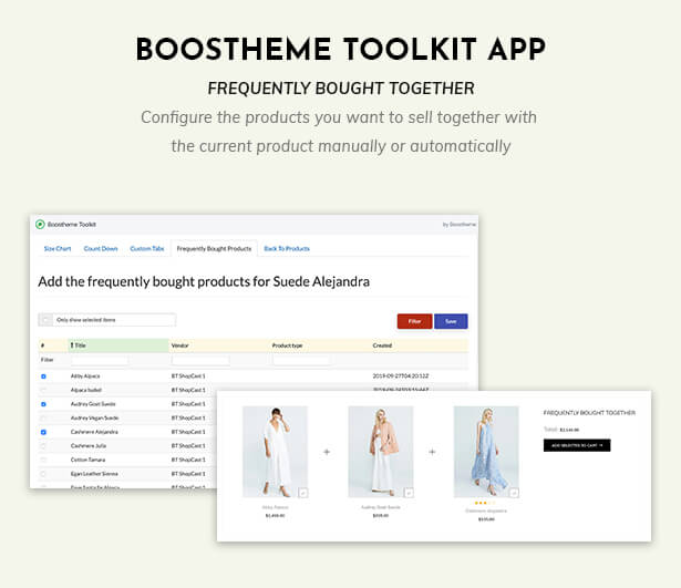 Boostheme Toolkit app - Manage frequently bought together products