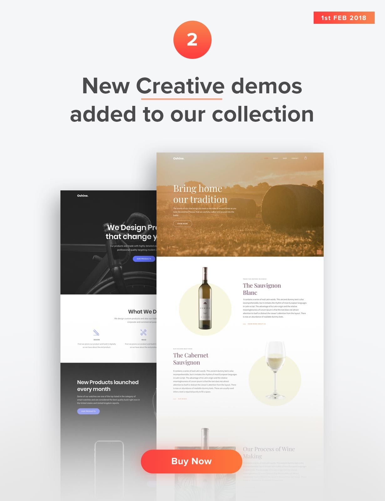 Oshine - Winery and Product Design Demos added